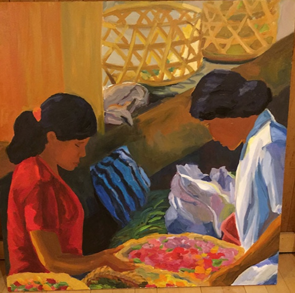 Morning Market, Udaipur XV, 42x42, oil on canvas 2017