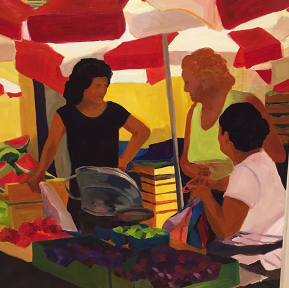 Morning Market, Dubrovnik, 42x42, oil on canvas 2017