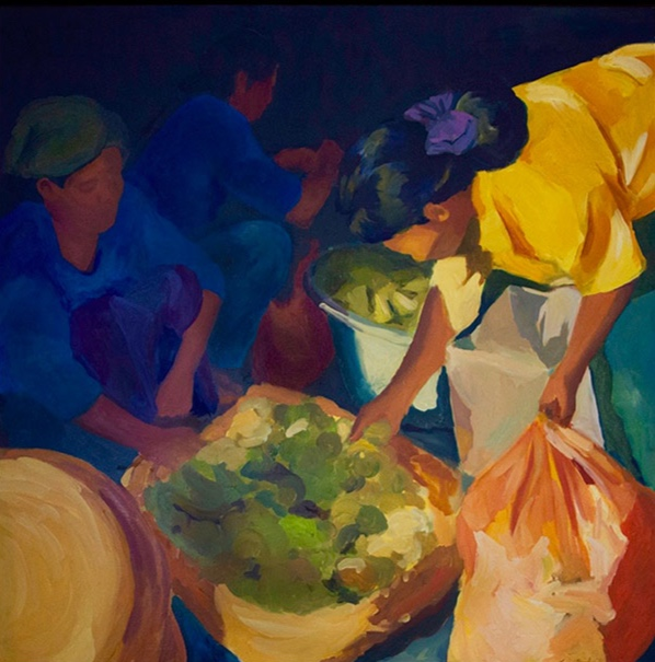 Morning Market, Ubud XIX, 42x42, oil on canvas 2014