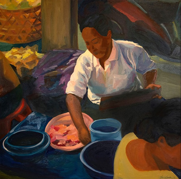 Morning Market, Ubud XVIII, 42x42, oil on canvas 2014