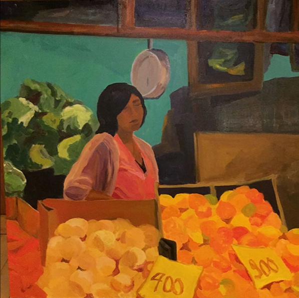 Morning Market, Valparaiso I, 42x42, oil on canvas 2017