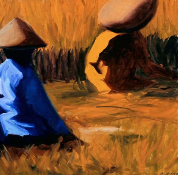 Rice Harvest VI, 42x42, 2003