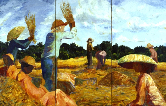 Rice Harvest II, 60x96, 1990