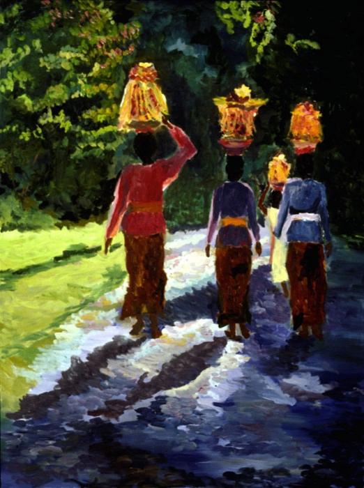 Temple Festival III, 36x48, 1999
