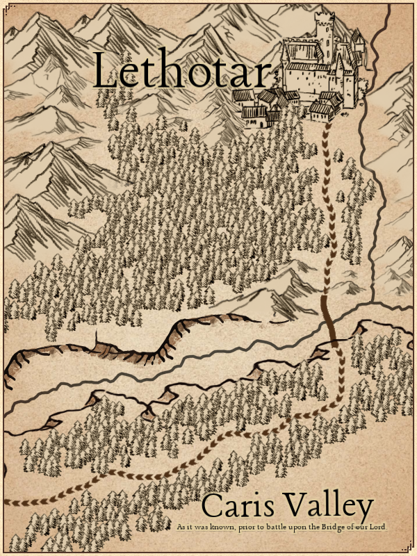 A zoomed-in map showing the Caris Valley, where  Legion of Mono  occurs.