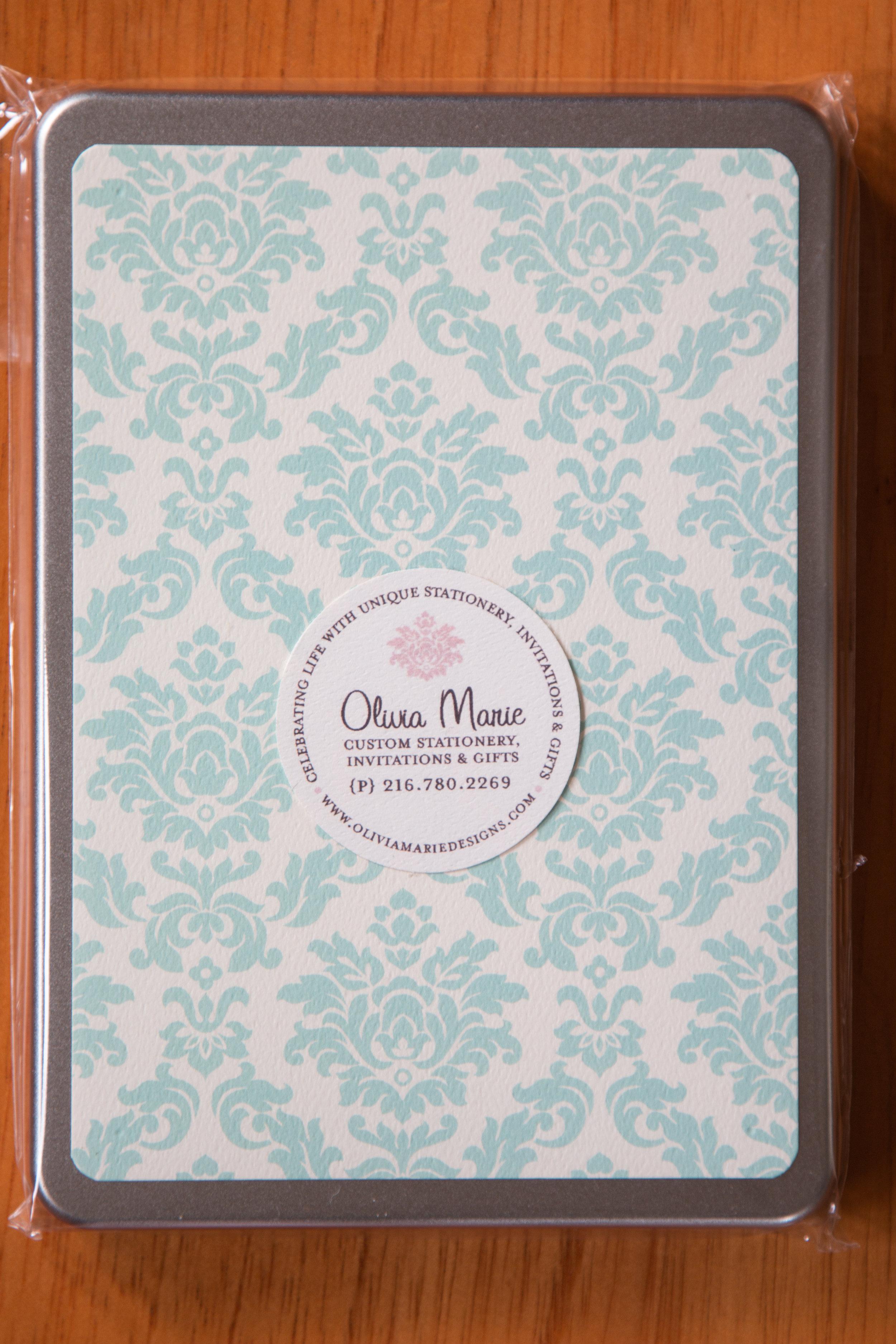 Olivia Blue Stationery Tin $35