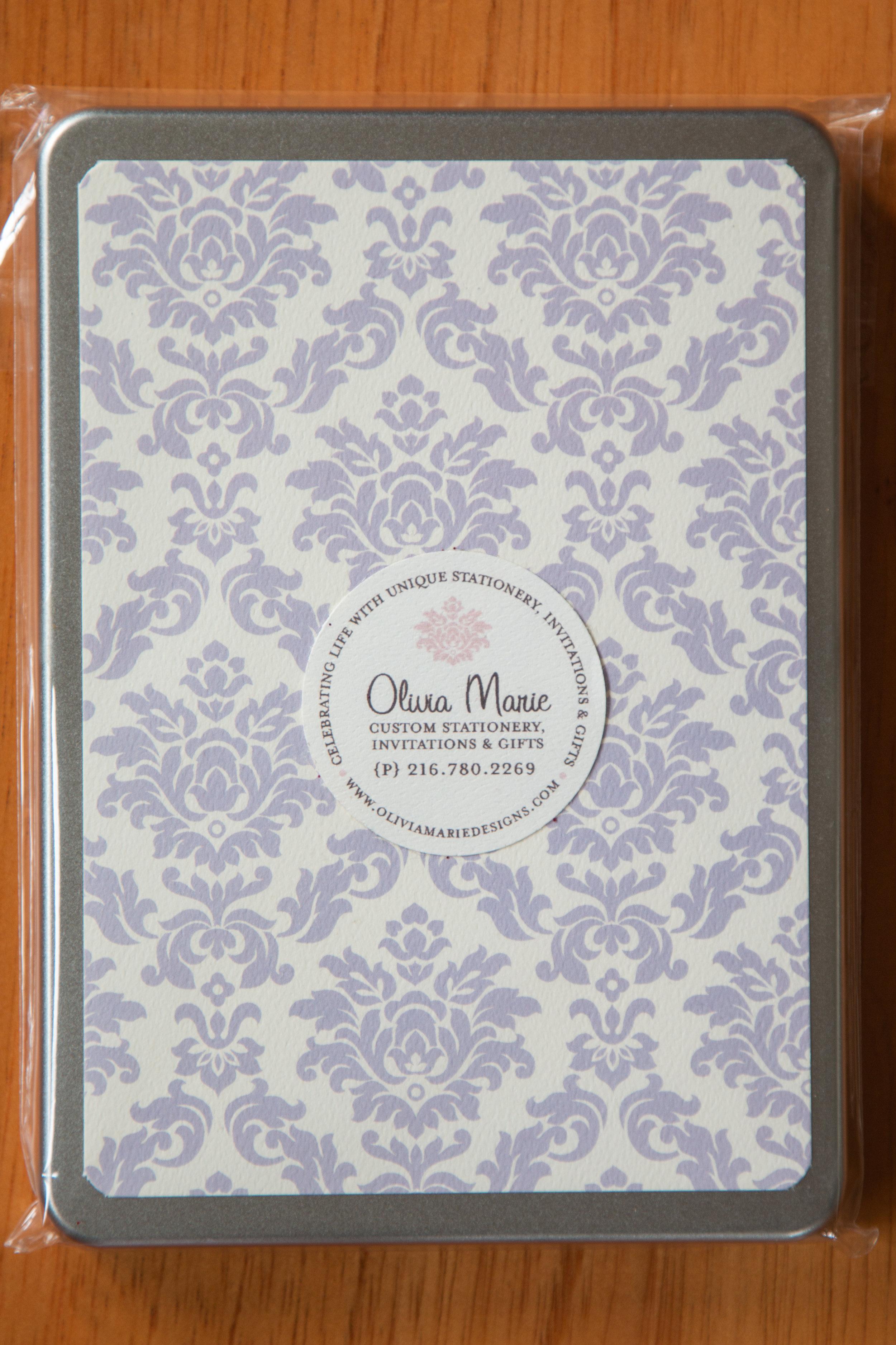 Olivia Lavender Stationery Tin $35