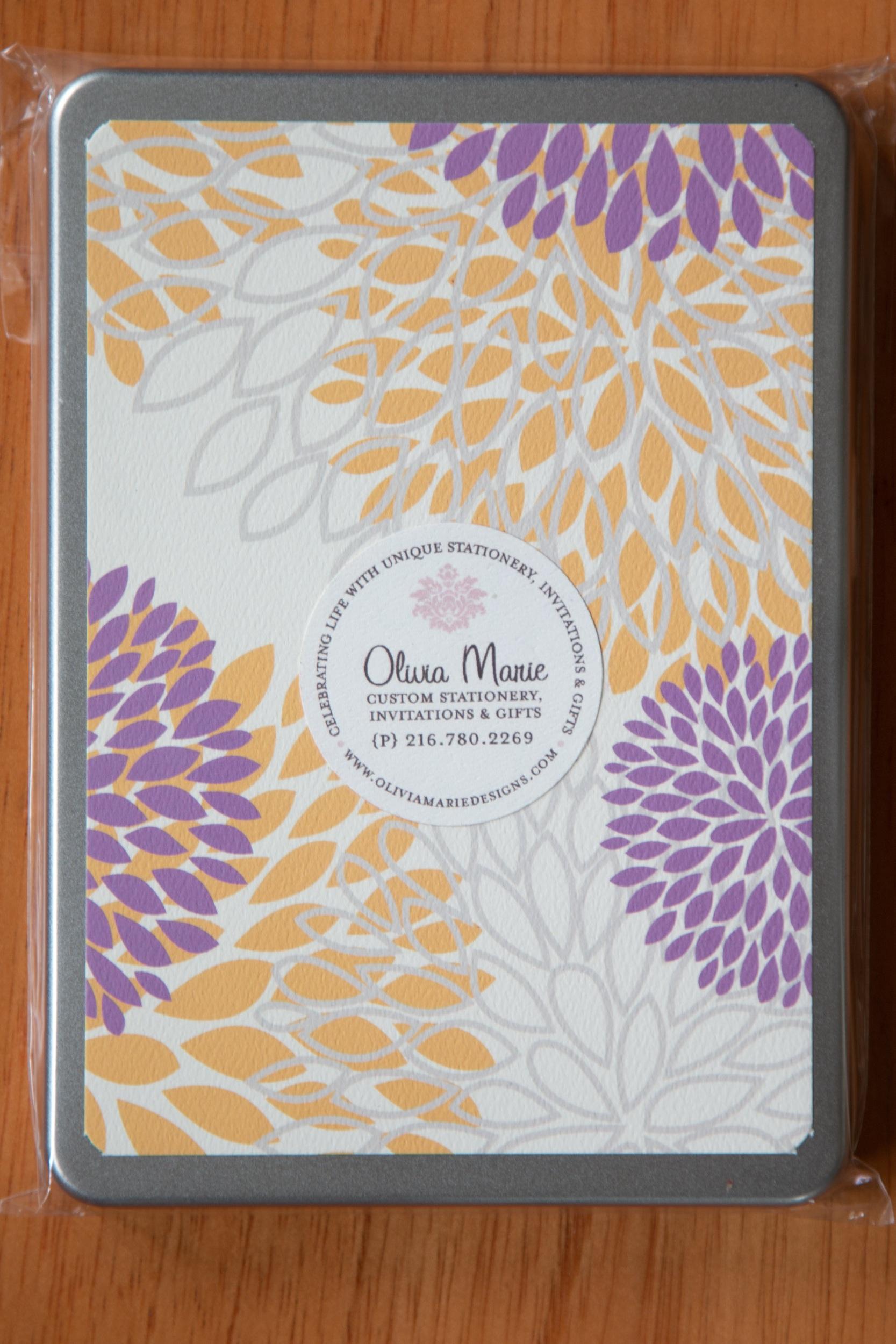 Marie Purple Stationery Tin $35