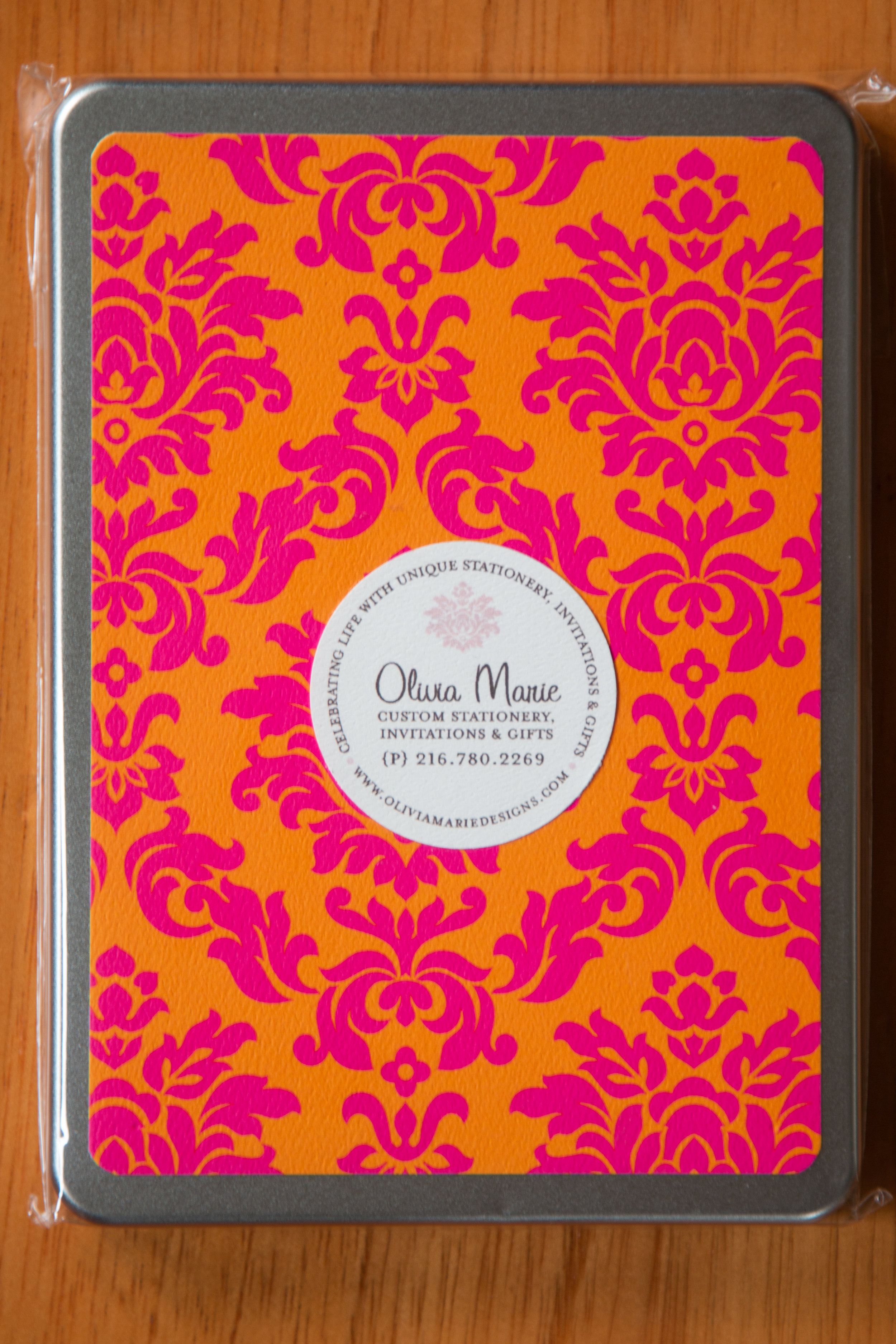 Claire Pink Stationery Tin $35