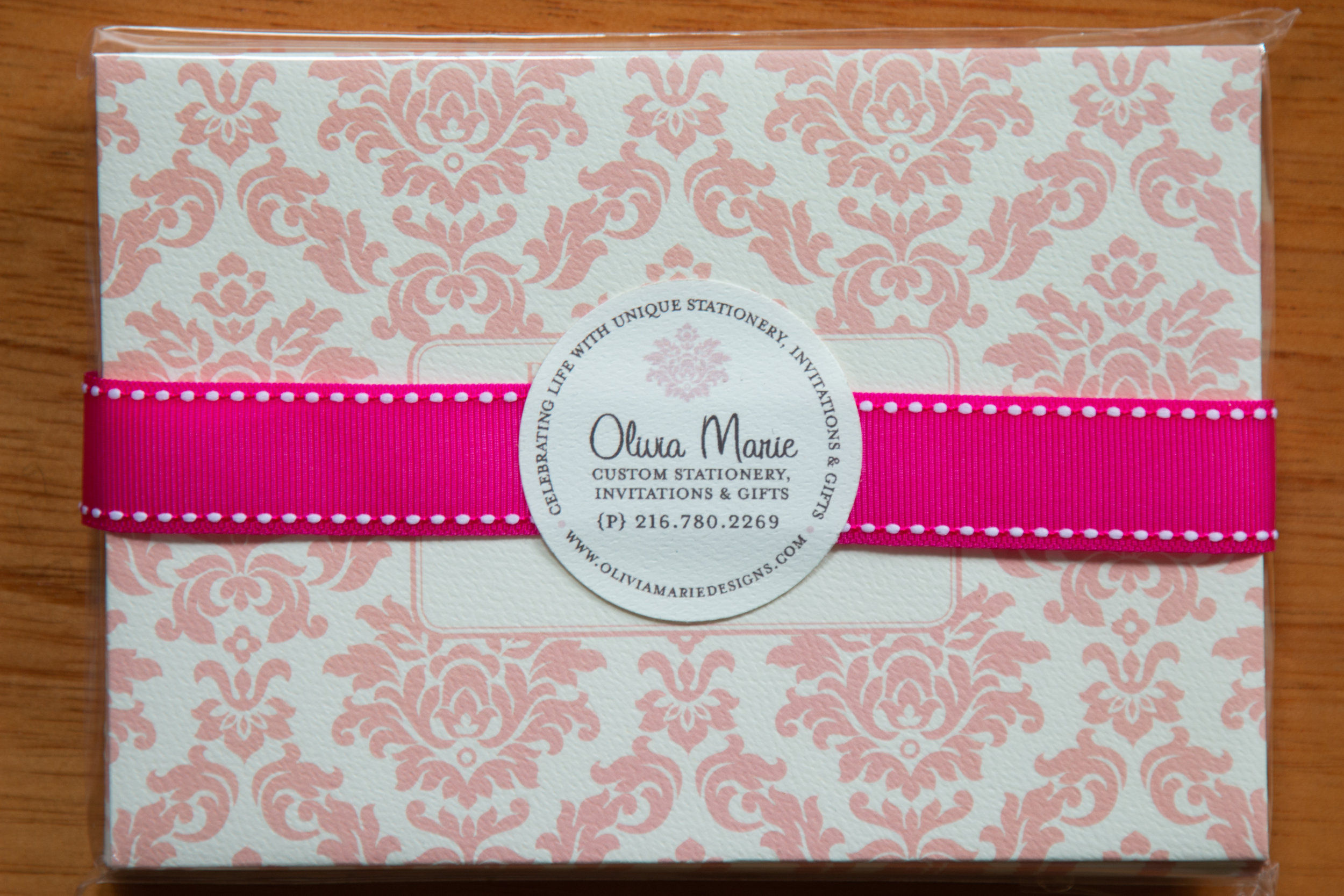 Olivia Pink Stationery Set $20