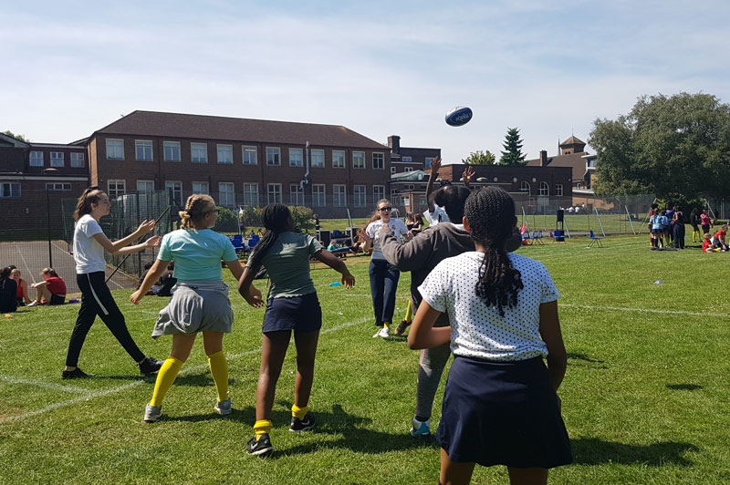 Rugby Coaching - We have recently undertaken Rugby coaching at a number of schools which is being received with a huge amount of enthusiasm by the children. The photographs below are of rugby coaching at St Paul's Girls School, Birmingham.