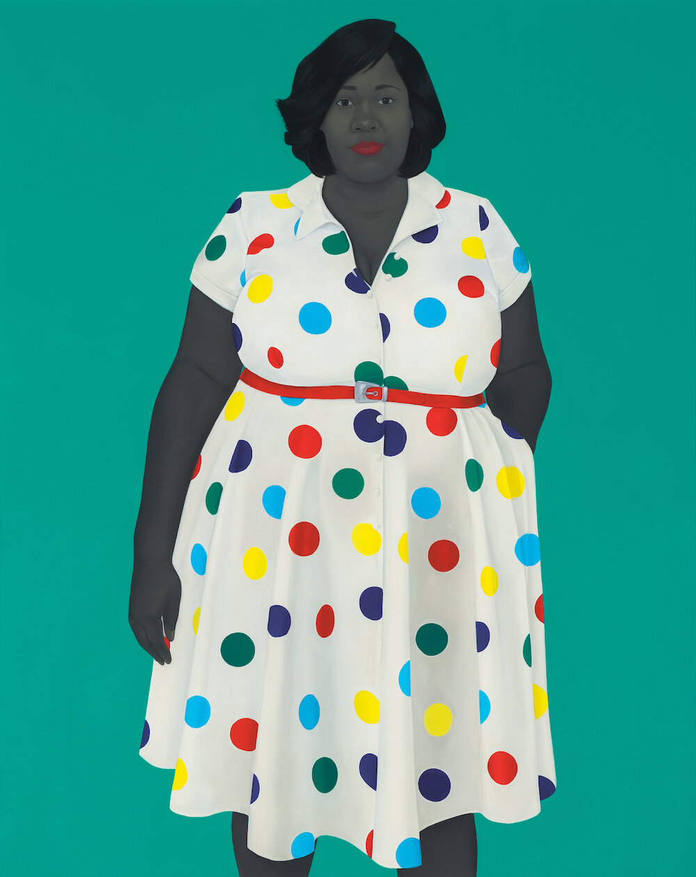 Amy Sherald,  The girl next door , 2019. Oil on canvas, 54 x 43 x 2 ½ in. © Amy Sherald. Courtesy the artist and Hauser & Wirth. Photo: Joseph Hyde.
