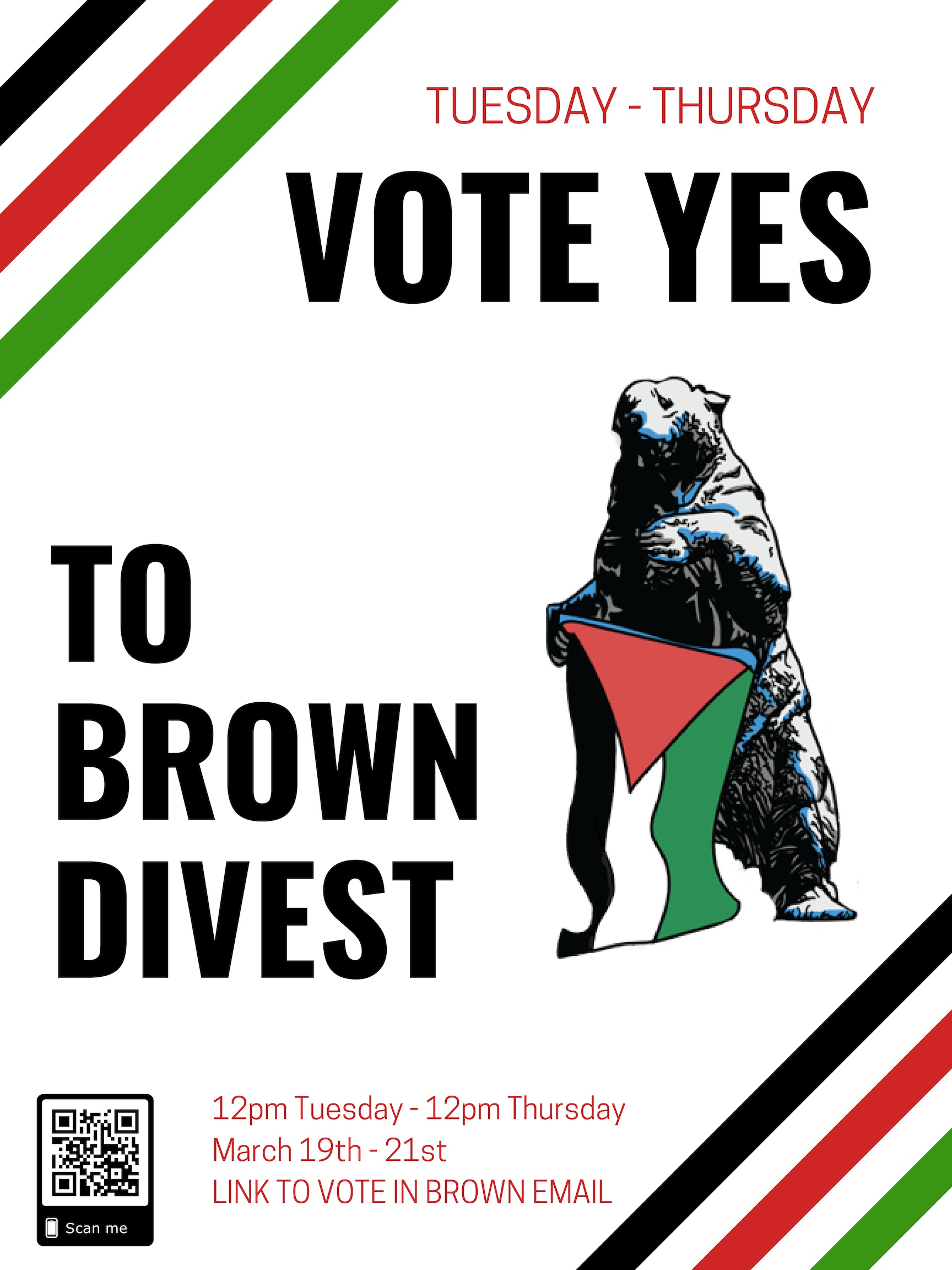 Brown Divest Referendum: - Should the Brown University administration divest all stocks, funds, endowment, and other monetary instruments from companies complicit in human rights abuses in Palestine and establish a means of implementing financial transparency and student oversight of the University's investments?The following criteria would be applied for divestment:a. Provide products or services that contribute to the maintenance of the Israeli military occupation of Gaza and the West Bankb. Provide products or services to the maintenance and expansion of Israeli settlements in the occupied Palestinian territoriesc. Establish facilities or operations in Israeli settlements in the occupied Palestinian territoriesd. Provide products or services that contribute to the maintenance and construction of the Separation Walle. Provide products or services that contribute to violent acts against either Israeli or Palestinian civilians