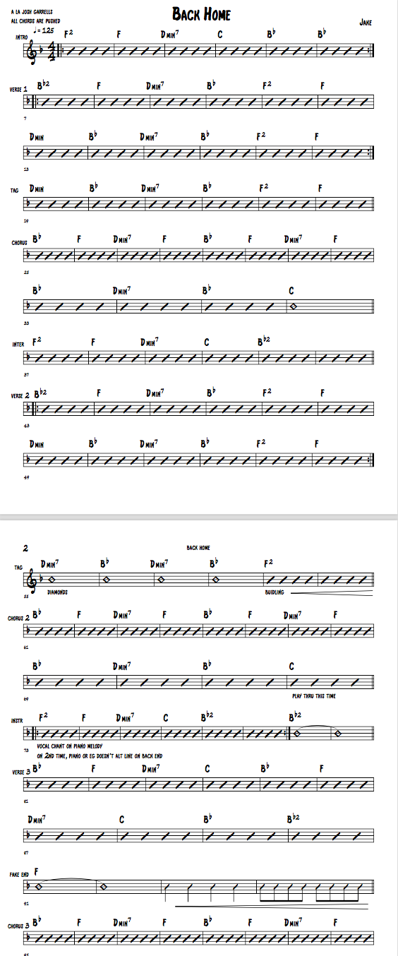 "Part of the rhythm chart created for ""Back Home"""