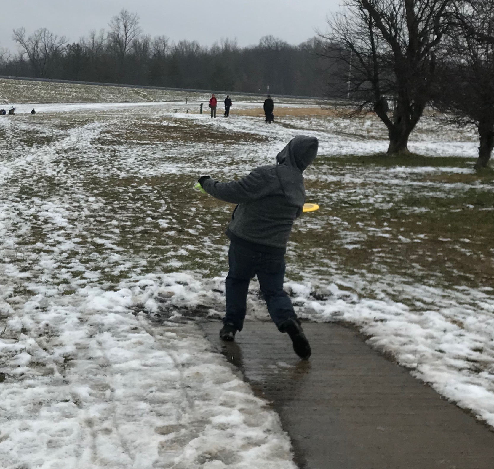 Photo:  Connor Flood PDGA #45684  launching a forehand drive