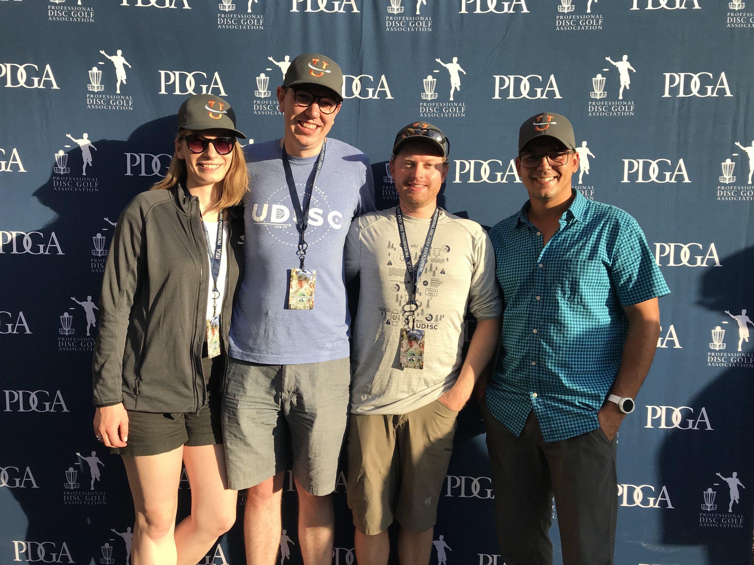 UDisc crew: Monica, Josh. Matt, and Dan at Worlds