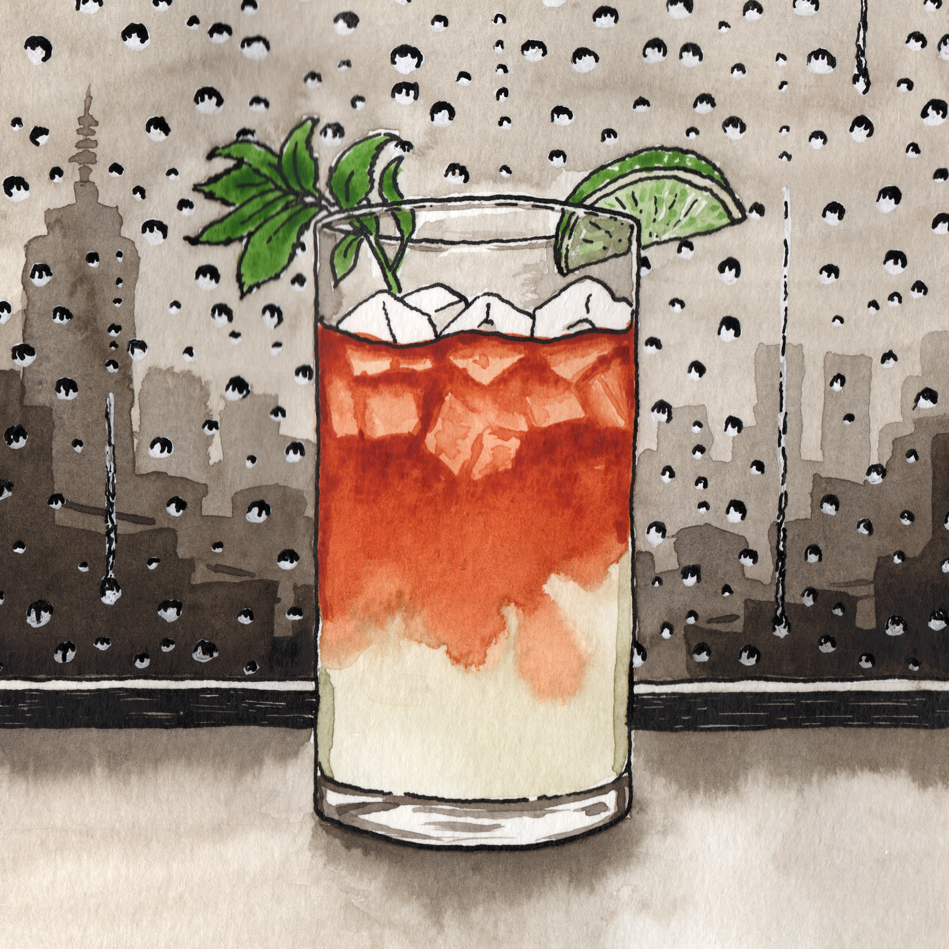 """Despite the Dark & Stormy having its roots in post WWI Bahamas, I can't get away from the idea of a dark and stormy sky, this time expressed through a sodden city seen through a rain soaked lofty bar window. The drink brings all the warmth to the picture (and the drinker)"""". Mick Clarke."""