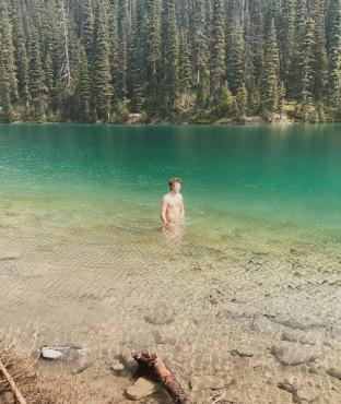 Kristian swimming in Yoho Lake