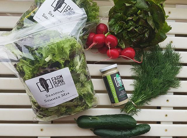 Our Dill-icious dressing alongside fresh bunches of dill comin' atcha this week! Eat up! . . . . . #farmpunksalads #farmpunk #eatmoresalad #portlandfarmersmarket #notill #regenerativeagriculture #handtended #smallscalefarming #youngfarmers #portlandcsa #pdxfarms #pdxfoodie #pdxeats #eatlocalpdx #portlandketo #pdxvegan