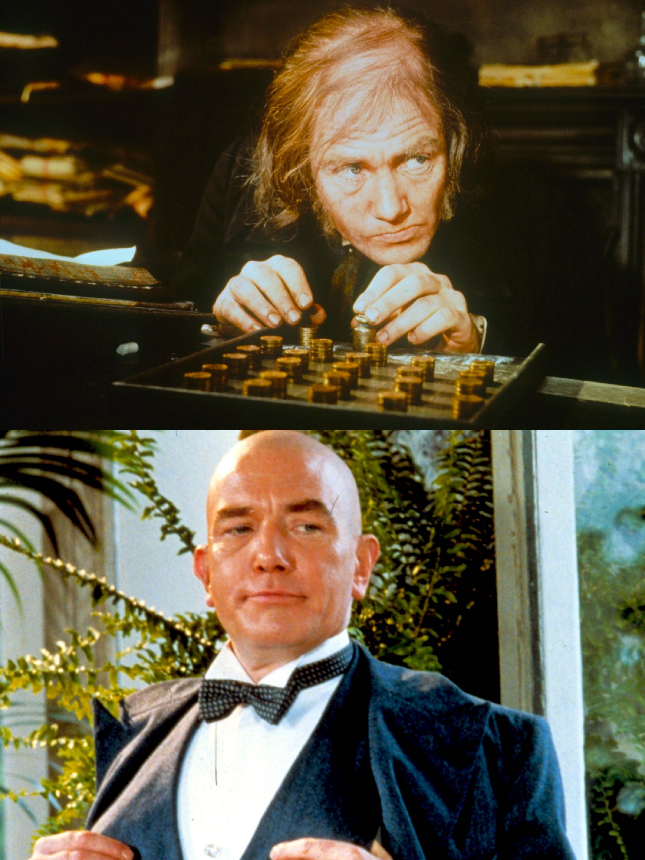 Albert Finney in Scrooge (1970) and in Annie (1982)