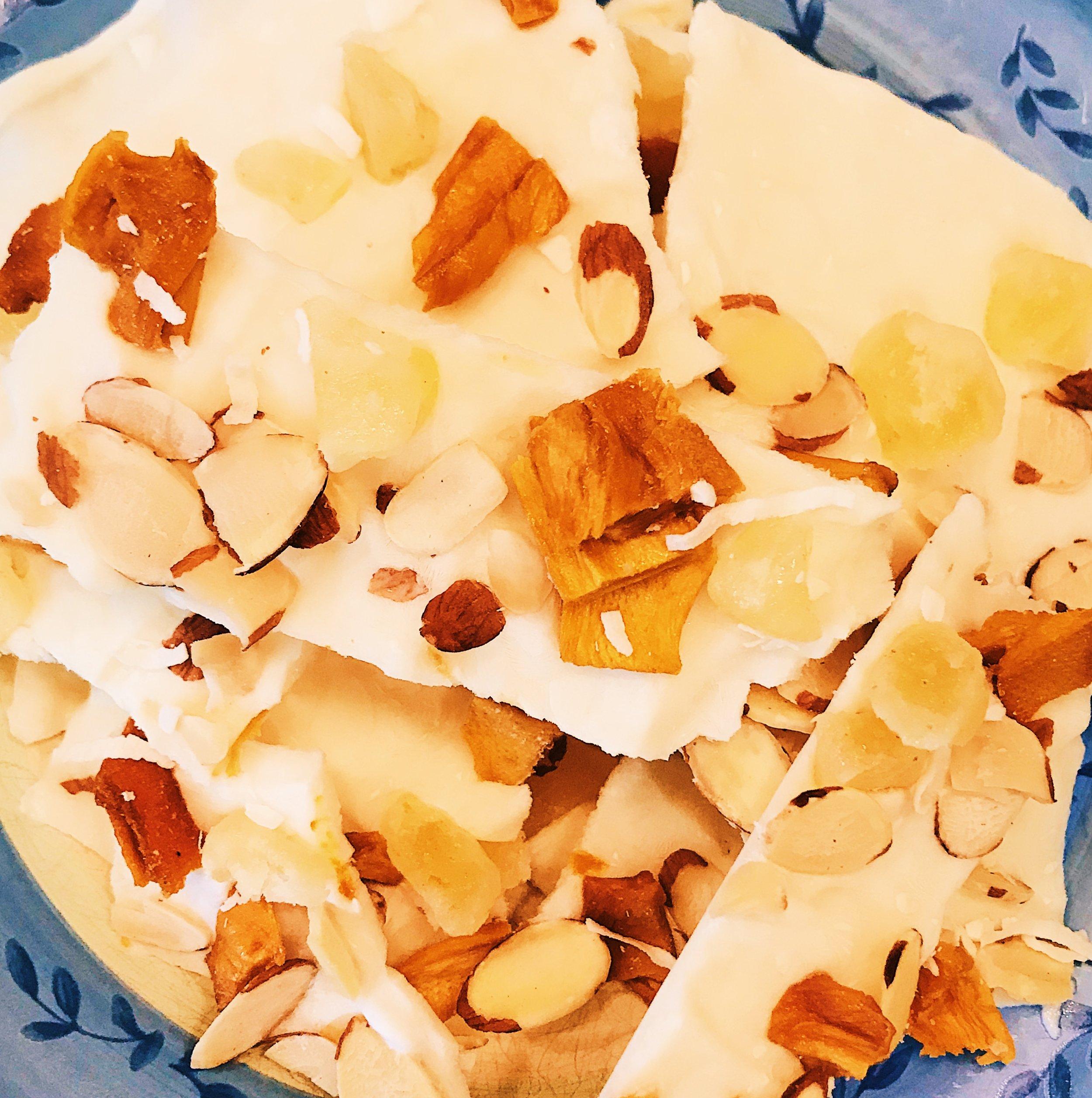 Fruit-Nut Frozen Greek Yogurt Bark