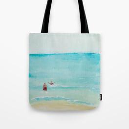 TWO ON A BEACH WATERCOLOUR TOTE BAG