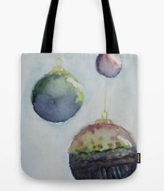 Watercolor Baubles, Christmas Card Tote Bag