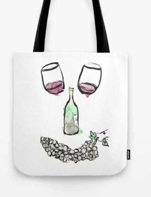 Gourmet Wine Smiley Face Tote Bag