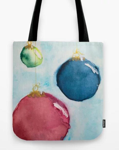Watercolor Bauble 2, Christmas Card Tote Bag