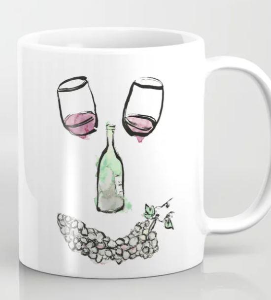 Gourmet Wine Smiley Face Coffee Mug