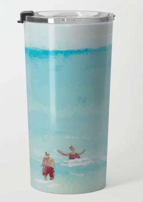 Two on Beach, Holiday Watercolor Travel Mug