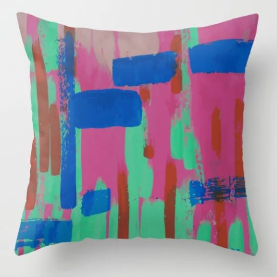 A bit of pink and some blue Throw Pillow