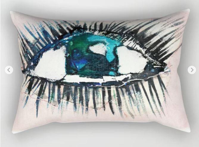Eyes taped open Rectangular Pillow