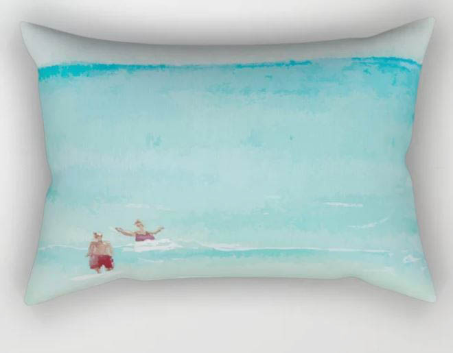 Two on Beach, Holiday Watercolor Rectangular Pillow