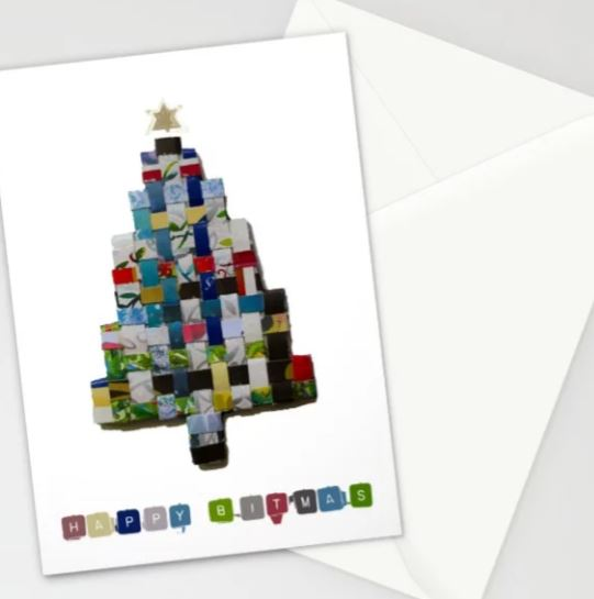Happy Bitmas, Collage Tree Christmas Card Stationery Cards