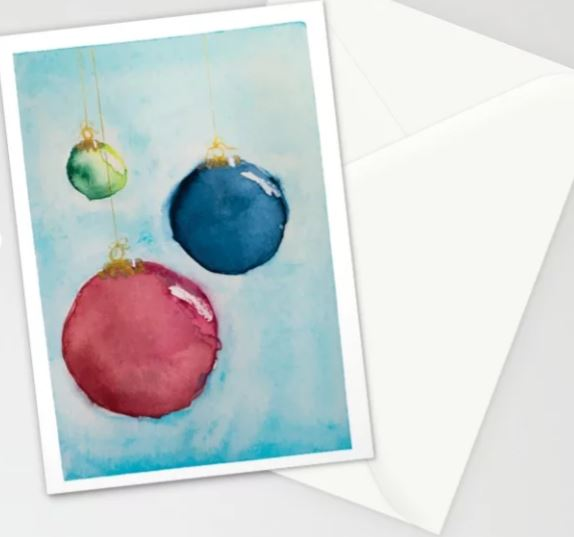 Watercolor Bauble 2, Christmas Card Stationery Cards