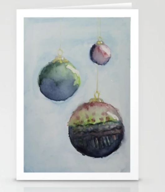 Watercolor Baubles, Christmas Card Stationery Cards
