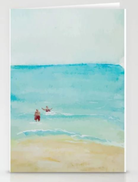 Two on Beach, Holiday Watercolor Stationery Cards