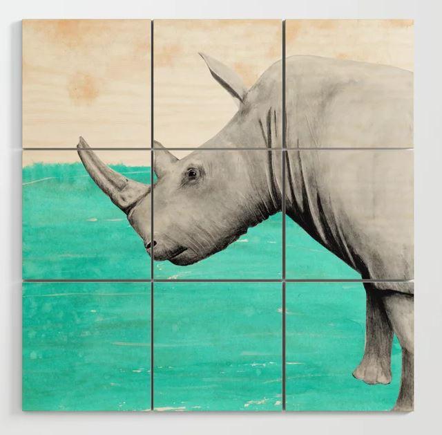 White Rhino Earth Wood Wall Art