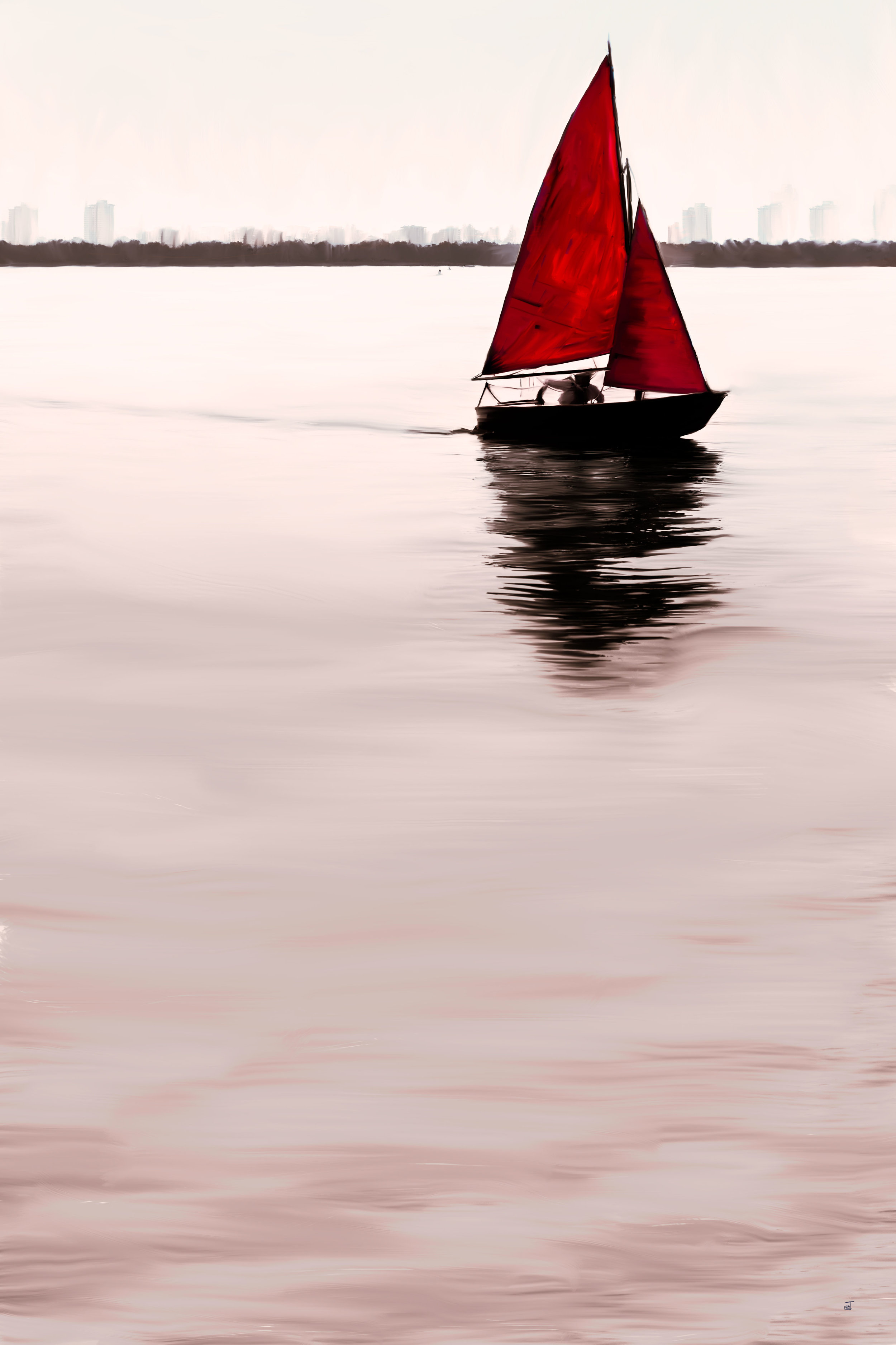 The little red sail boat