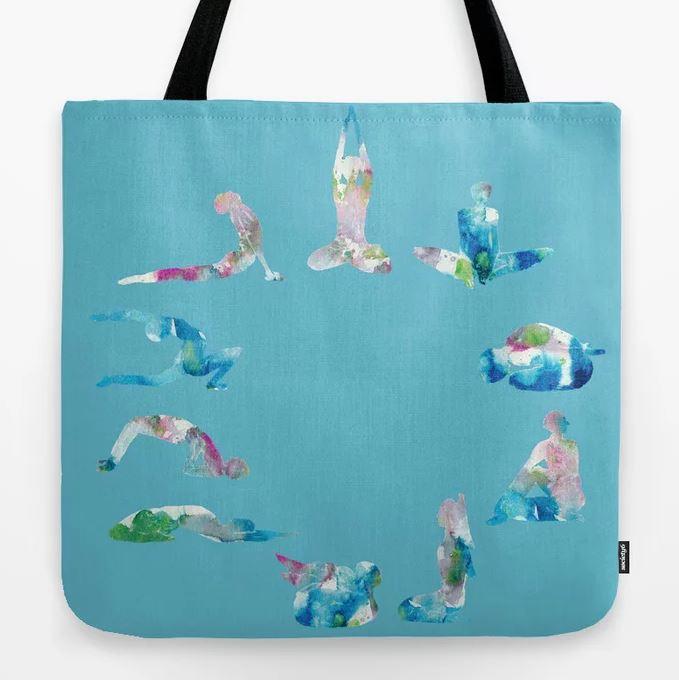 Yoga illustration in Watercolour- Blue Tote Bag