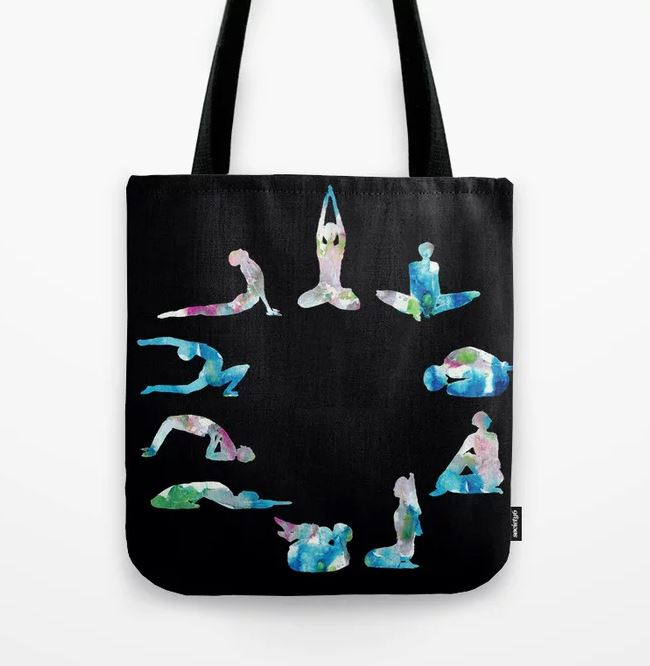 Yoga illustration in Watercolour- on black Tote Bag