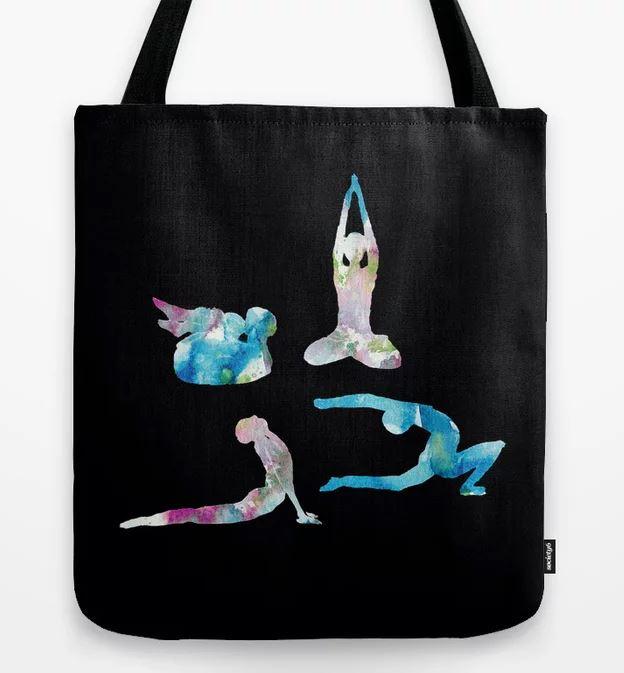 Yoga Watercolour seasons Tote Bag