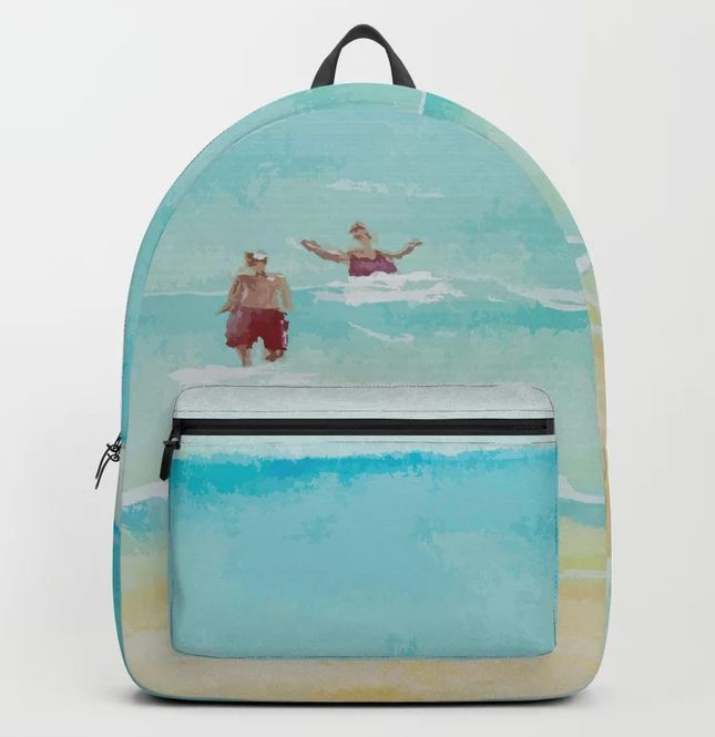 Two on Beach, Holiday Watercolor Backpack