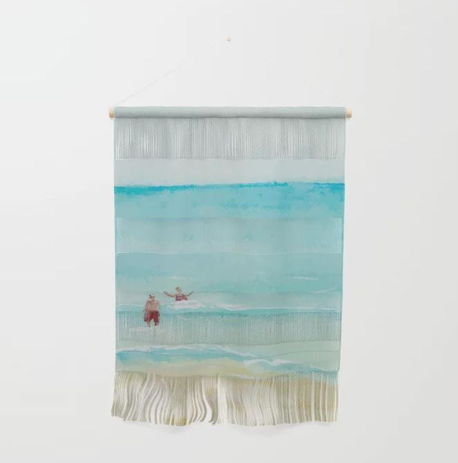 Two on Beach, Holiday Watercolor Wall Hanging