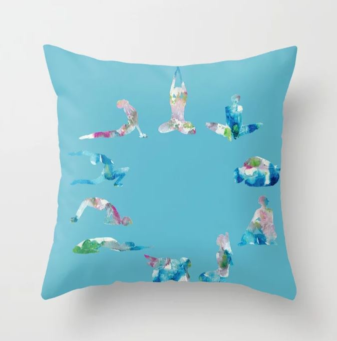 Yoga illustration in Watercolour- Blue Throw Pillow