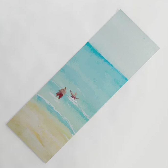 Two on Beach, Holiday Watercolor Yoga Mat