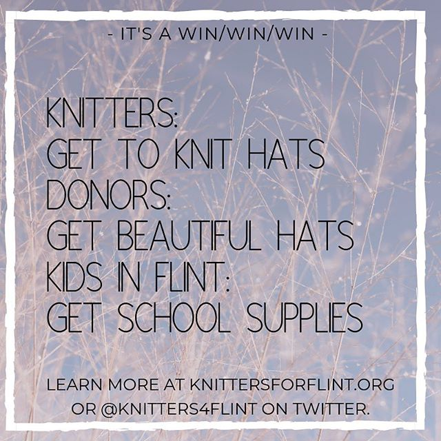 Have you checked out #knittersforflint yet?  Here's the idea: 1. I knit a hat. 2. You donate money to @packyourbackmi via secure.givelively.org/donate/pack-yo… 3. I mail you the hat!  Knitters & crocheters: Join us! Non-crafters: donate & get hand-knits.  Learn more at knittersforflint.org.  #knitthewave #knitting #knittersofinstagram #craftivism
