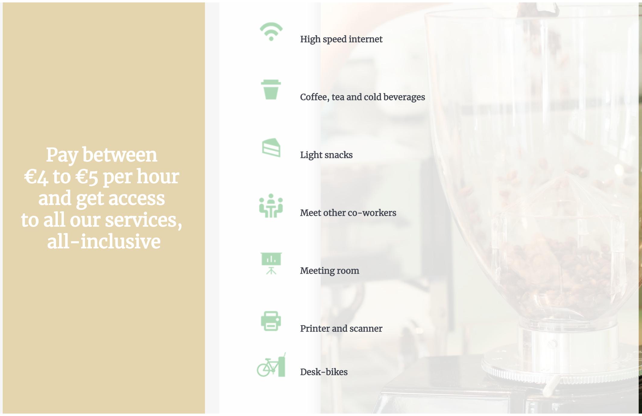提供しているサービスの一覧(Närmare Coworking HPより)。