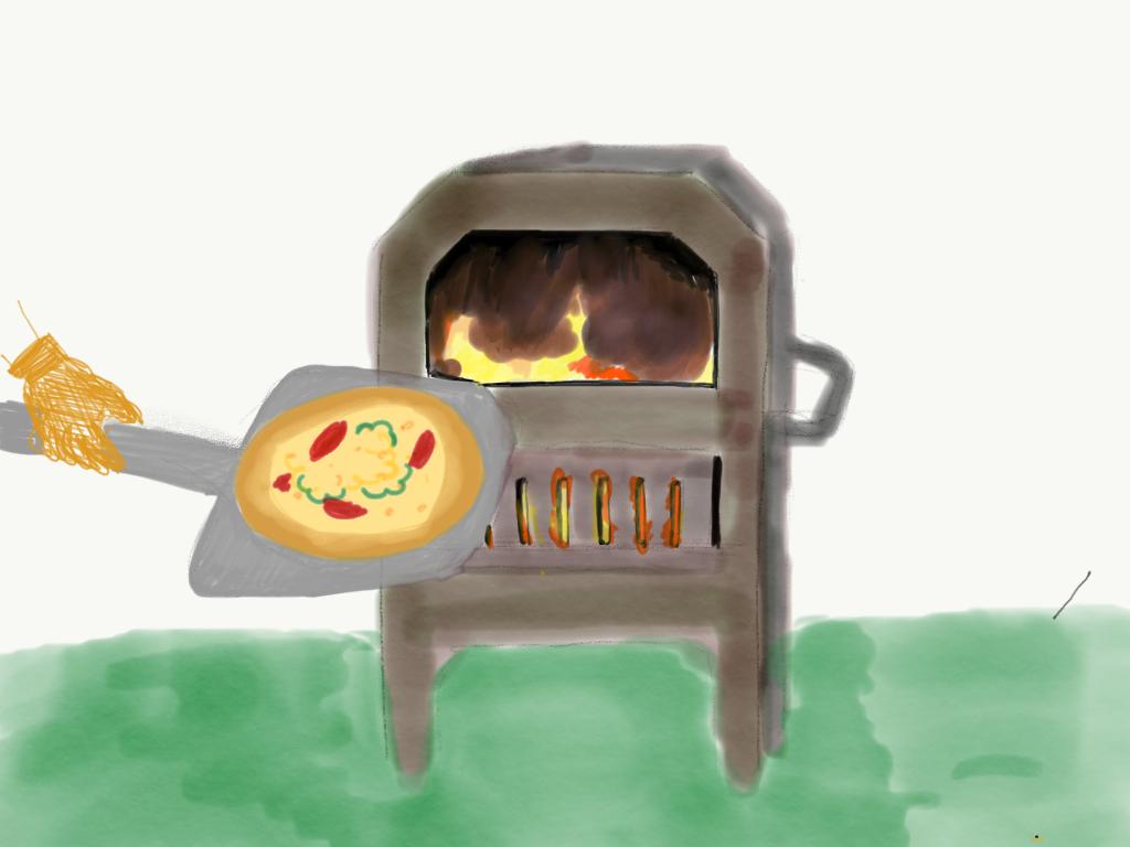 窯に薪を焼べて、1枚1枚ピザを焼いていきます。